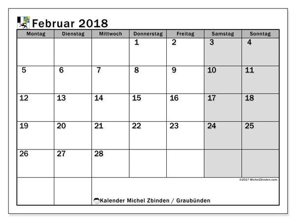 Kalender für Februar 2018, , mit Feiertagen des Kantons Graubünden. Kostenlos ausdruckbare Planer.
