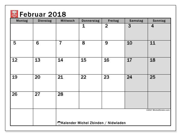Kalender für Februar 2018, , mit Feiertagen des Kantons Nidwalden. Monatlicher Zeitplan zum kostenlosen ausdrucken.