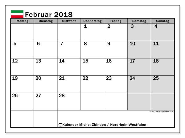 Kalender für Februar 2018, , mit Feiertagen Nordrhein-Westfalen. Monatlicher Zeitplan zum kostenlosen ausdrucken.