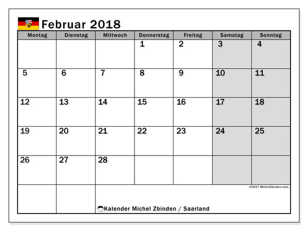 Kalender für Februar 2018, mit Feiertagen Saarland. Monatlicher Kalender zum kostenlosen ausdrucken.