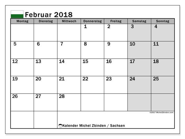 Kalender für Februar 2018, mit Feiertagen Sachsen. Kostenlos ausdruckbare Kalender.