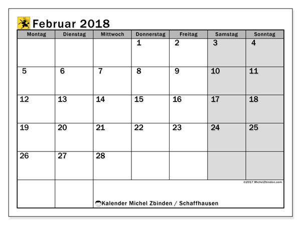 Kalender für Februar 2018, mit Feiertagen des Kantons Schaffhausen. Monatlicher Kalender zum kostenlosen ausdrucken.