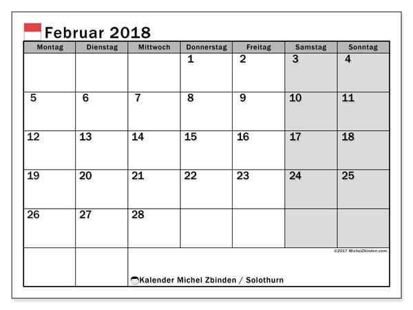 Kalender für Februar 2018, mit Feiertagen des Kantons Solothurn. Kostenlos ausdruckbare Kalender.