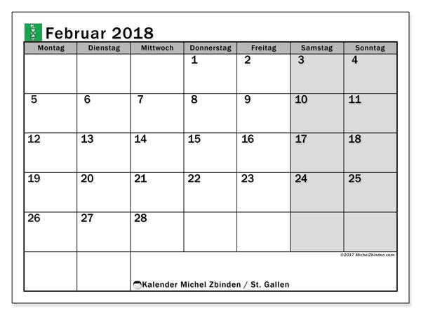 Kalender für Februar 2018, , mit Feiertagen des Kantons St. Gallen. Monatlicher Zeitplan zum kostenlosen ausdrucken.