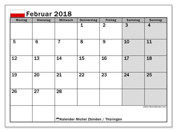 Kalender für Februar 2018, mit Feiertagen Thüringen. Planer zum kostenlosen ausdrucken.