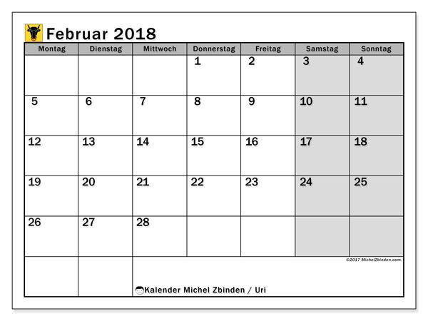 Kalender für Februar 2018, , mit Feiertagen des Kantons Uri. Kostenlos ausdruckbare Planer.