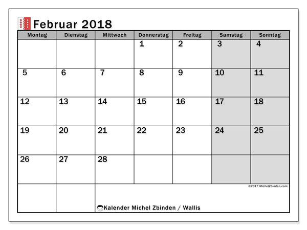 Kalender für Februar 2018, , mit Feiertagen des Kantons Wallis. Planer zum kostenlosen ausdrucken.