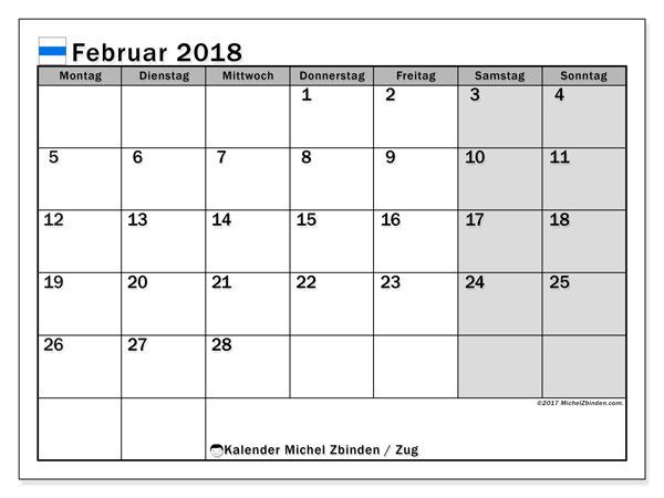 Kalender für Februar 2018, mit Feiertagen des Kantons Zug. Monatskalender zum kostenlosen ausdrucken.