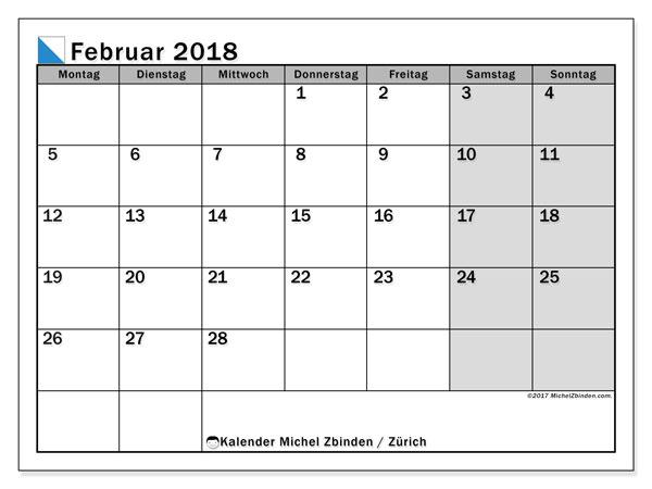Kalender für Februar 2018, , mit Feiertagen des Kantons Zürich. Kostenloser Planer zum ausdrucken.