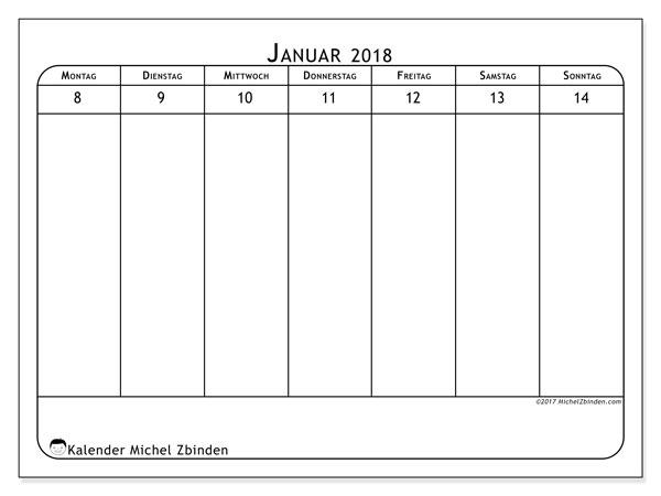 Kalender Januar 2018 (43-2MS). Kostenloser Kalender zum ausdrucken.