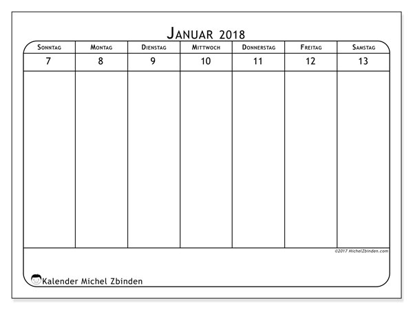 Kalender Januar 2018 (43-2SS). Zeitplan zum kostenlosen ausdrucken.