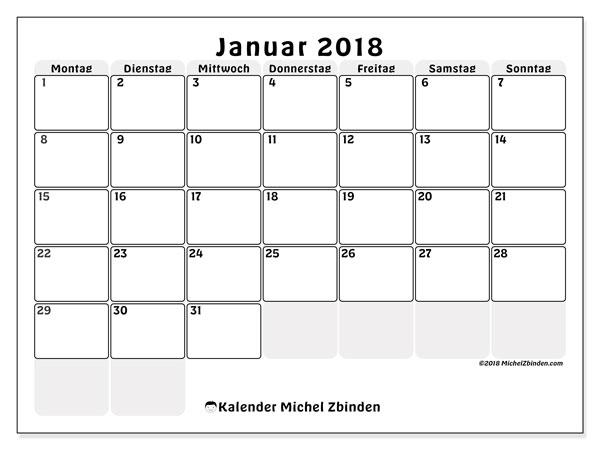 Kalender Januar 2018 (44MS). Kostenloser Planer zum ausdrucken.