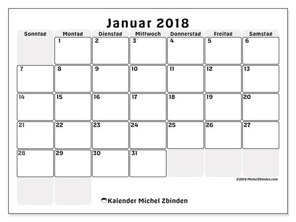 Kalender Januar 2018 (44SS). Zeitplan zum kostenlosen ausdrucken.