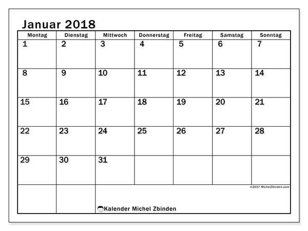 Kalender Januar 2018 (50MS). Kostenloser Kalender zum ausdrucken.