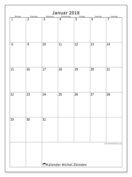 Kalender Januar 2018 (52MS). Kostenlos ausdruckbare Zeitplan.