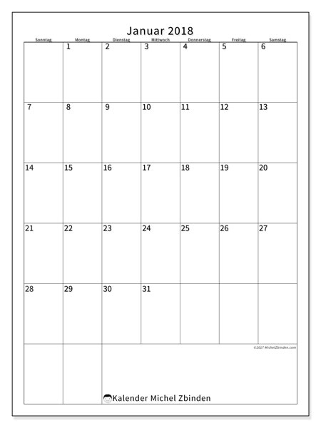 Kalender Januar 2018 (52SS). Kostenloser Kalender zum ausdrucken.