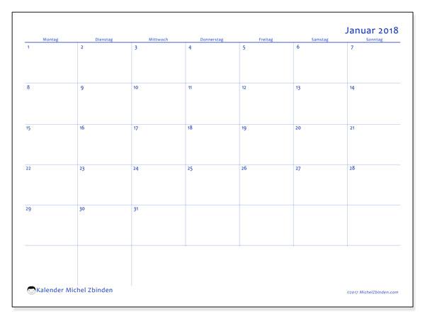 Kalender Januar 2018 (55MS). Monatskalender zum kostenlosen ausdrucken.