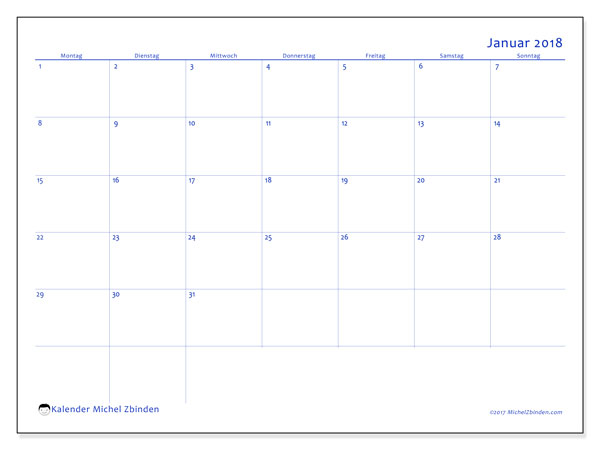 Kalender Januar 2018 (55MS). Kostenlos ausdruckbare Zeitplan.