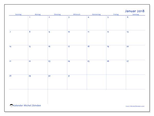 Kalender Januar 2018 (55SS). Kostenlos ausdruckbare Kalender.