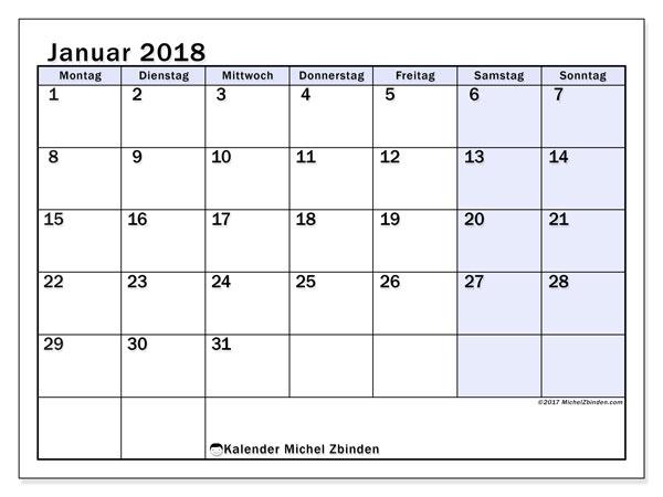 Kalender Januar 2018 (57MS). Monatlicher Kalender zum kostenlosen ausdrucken.