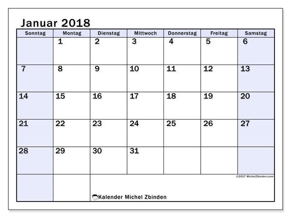 Kalender Januar 2018 (57SS). Kostenloser Zeitplan zum ausdrucken.