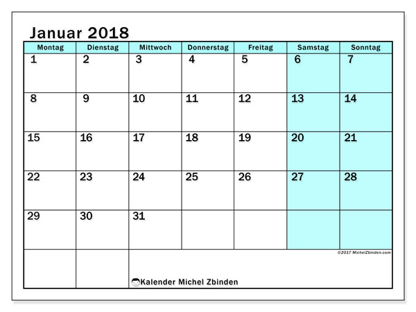 Kalender Januar 2018 (59MS). Kostenlos ausdruckbare Planer.