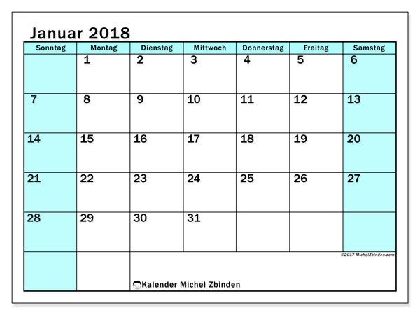 Kalender Januar 2018 (59SS). Kostenlos ausdruckbare Planer.