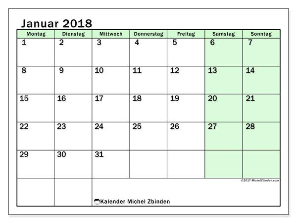 Kalender Januar 2018 (60MS). Monatlicher Zeitplan zum kostenlosen ausdrucken.