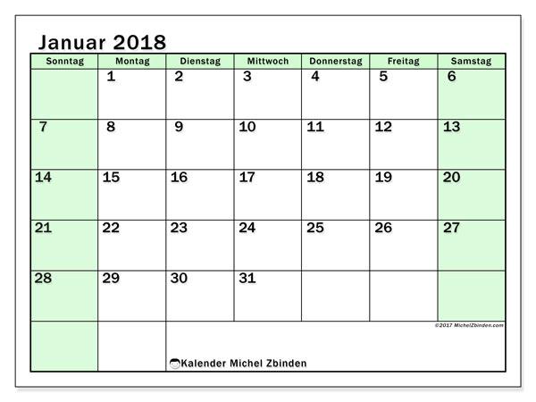Kalender Januar 2018 (60SS). Kostenlos ausdruckbare Zeitplan.