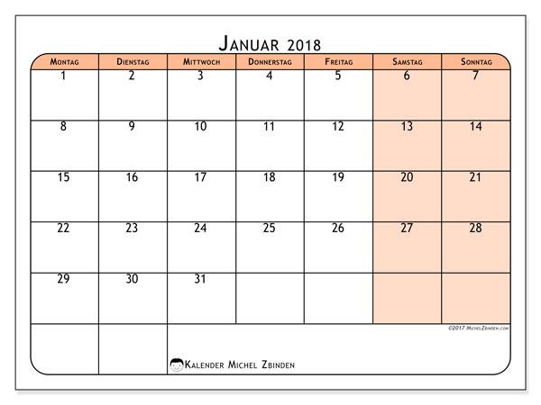 Kalender Januar 2018 (61MS). Kalender für den Monat zum kostenlosen Ausdrucken.
