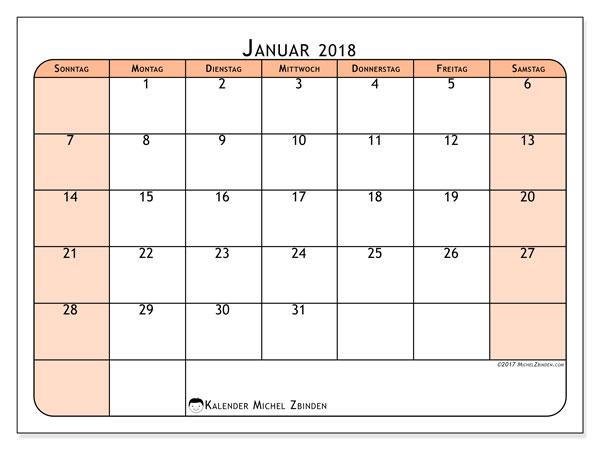 Kalender Januar 2018 (61SS). Kalender zum kostenlosen ausdrucken.