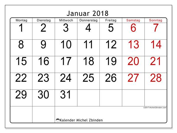 Kalender Januar 2018 (62MS). Monatskalender zum kostenlosen ausdrucken.