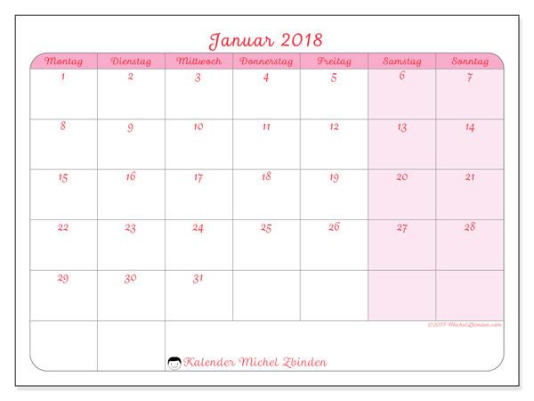 Kalender Januar 2018 (63MS). Zeitplan zum kostenlosen ausdrucken.
