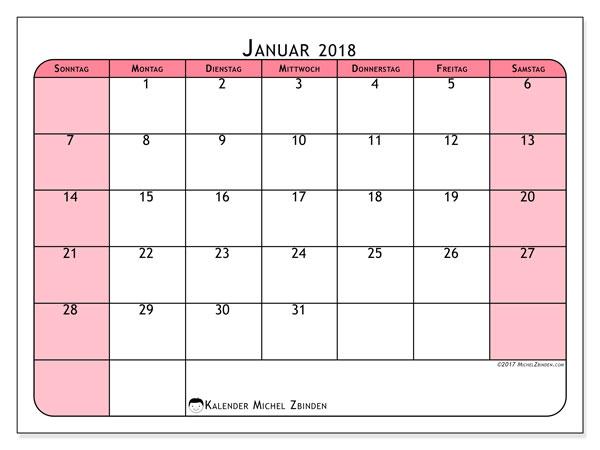 Kalender Januar 2018 (64SS). Kostenlos ausdruckbare Zeitplan.