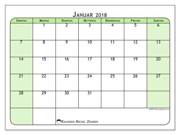Kalender Januar 2018 (65SS). Kostenloser Planer zum ausdrucken.