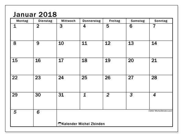 Kalender Januar 2018 (66MS). Kostenloser Planer zum ausdrucken.