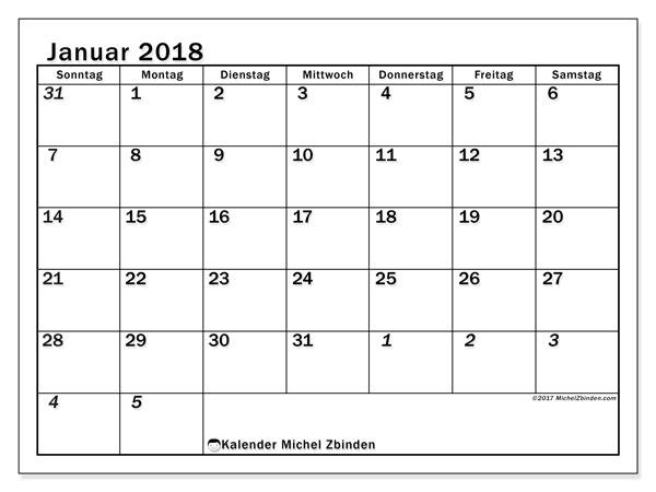 Kalender Januar 2018 (66SS). Kostenloser Planer zum ausdrucken.