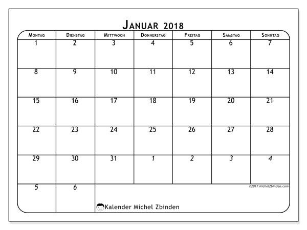 Kalender Januar 2018 (67MS). Kalender für den Monat zum kostenlosen Ausdrucken.