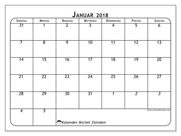 Kalender Januar 2018 (67SS). Kalender für den Monat zum kostenlosen Ausdrucken.