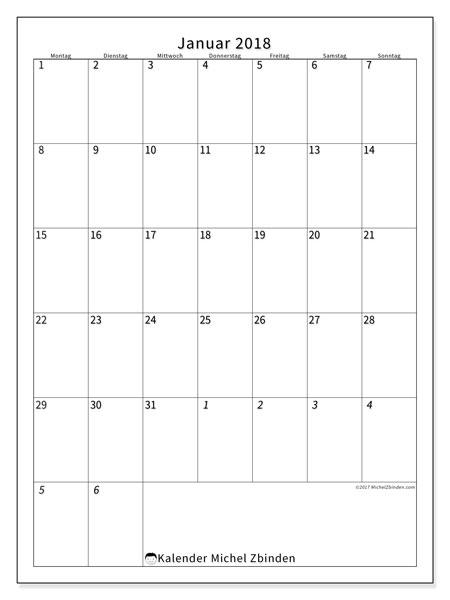 Kalender Januar 2018 (68MS). Kostenloser Zeitplan zum ausdrucken.