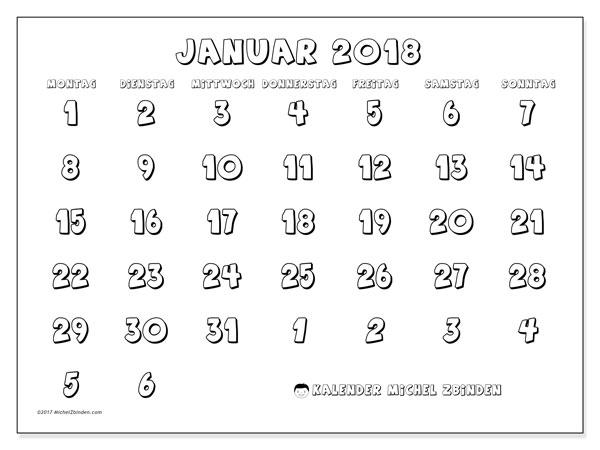 Kalender Januar 2018 (71MS). Kalender zum kostenlosen ausdrucken.