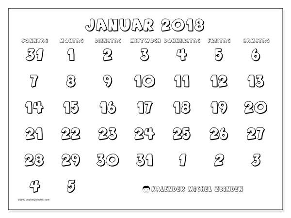 Kalender Januar 2018 (71SS). Monatskalender zum kostenlosen ausdrucken.