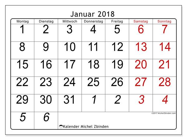 Kalender Januar 2018 (72MS). Kostenloser Kalender zum ausdrucken.