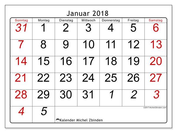 Kalender Januar 2018 (72SS). Monatlicher Kalender zum kostenlosen ausdrucken.
