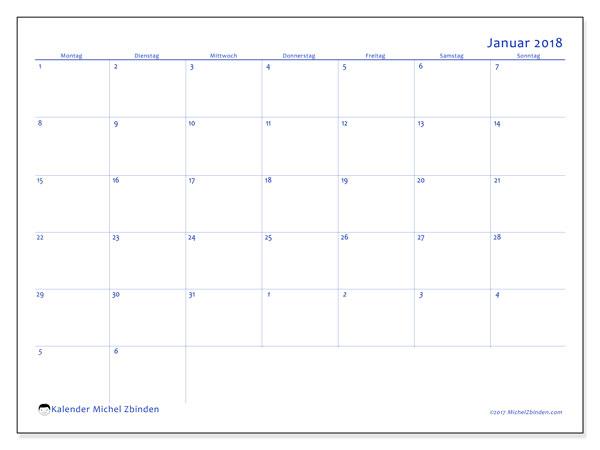 Kalender Januar 2018 (73MS). Monatskalender zum kostenlosen ausdrucken.