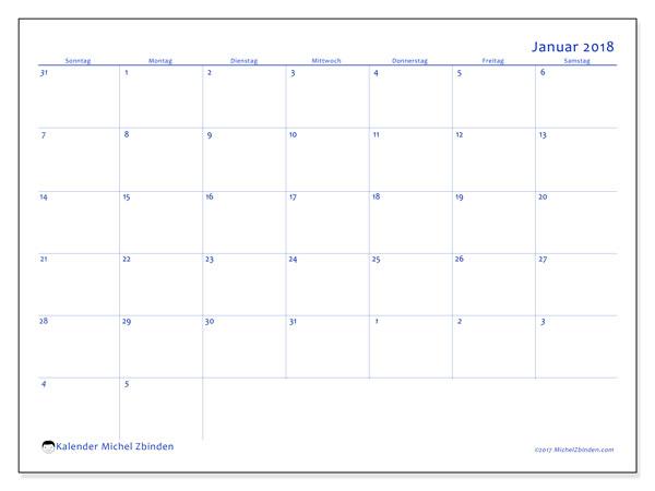 Kalender Januar 2018 (73SS). Kalender zum kostenlosen ausdrucken.