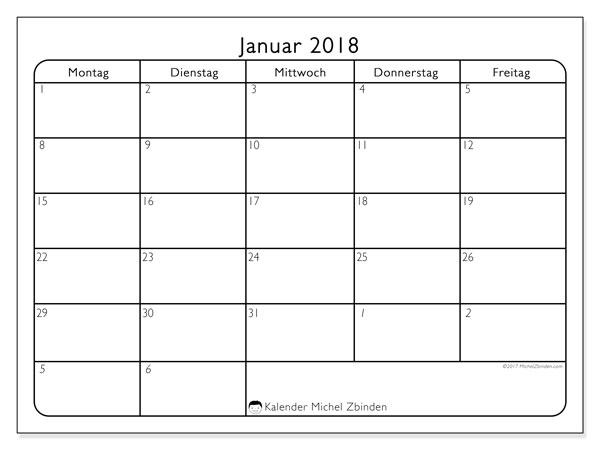Kalender Januar 2018 (74MF). Kostenloser Zeitplan zum ausdrucken.
