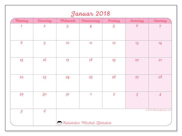 Kalender Januar 2018 (76MS). Kostenloser Zeitplan zum ausdrucken.
