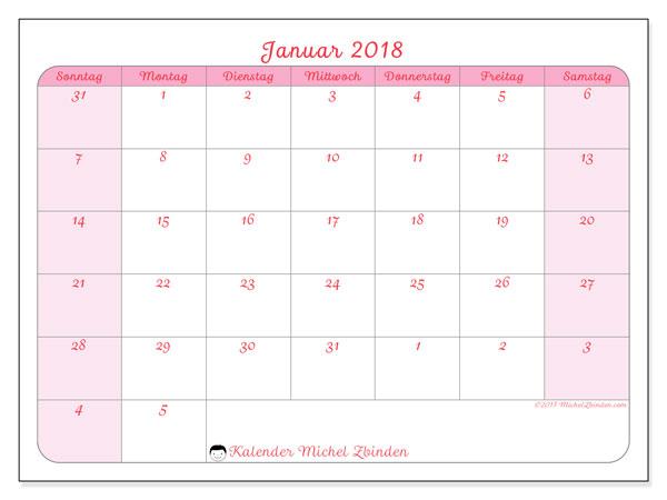Kalender Januar 2018 (76SS). Monatlicher Kalender zum kostenlosen ausdrucken.