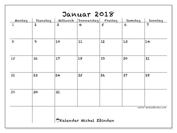 Kalender Januar 2018 (77MS). Zeitplan zum kostenlosen ausdrucken.